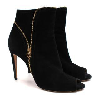 Salvatore Ferragamo Black Suede Heeled Ankle Boots