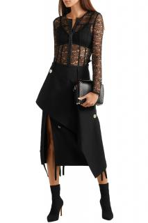 Alexander Wang Black Lace Leather Trim Blouse