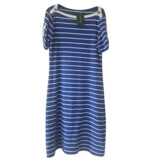 Lauren Ralph Lauren blue stripe short sleeve cotton dress