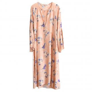 Marni vintage pink floral crepe de chine loose fit dress