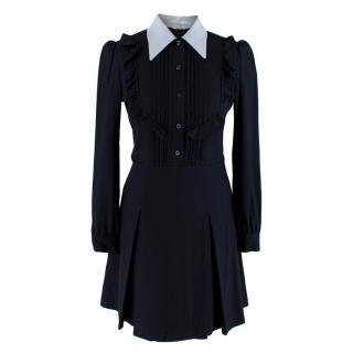 Miu Miu Blue Ruffles Shirt Dress