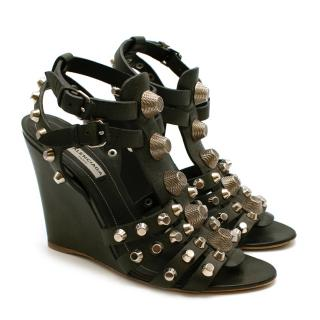 Balenciaga Green Leather Arena Studded Gladiator Wedges