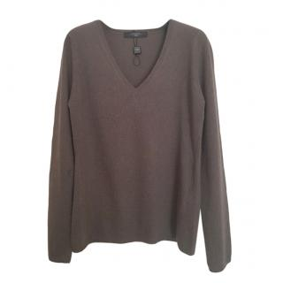 MaxMara Weekend khaki wool & cashmere blend v-neck jumper
