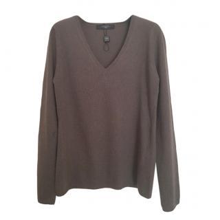 MaxMara Weekend khaki wool & cashmere blend v-neck jumper