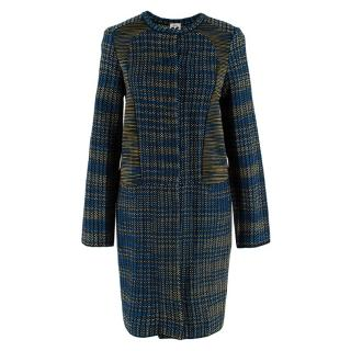 M Missoni Blue and Green Woven Knit Coat