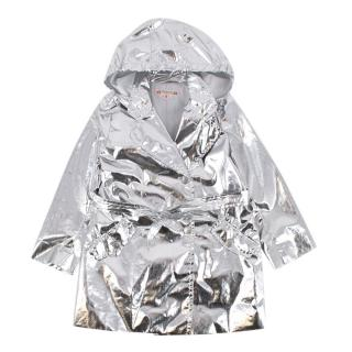 Bonpoint Metallic Silver Button-Down Rain coat