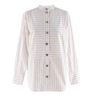 Chanel White Striped Collarless Shirt