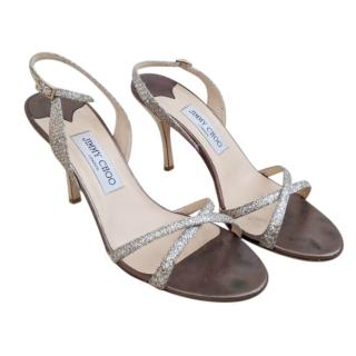 Jimmy Choo champagne sparkly strap slingback sandals