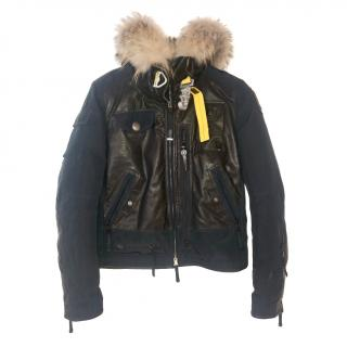 Parajumpers black leather patch & fur trim jacket