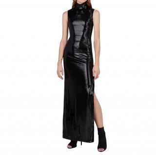 Galvan galaxy black high-neck sequin dress