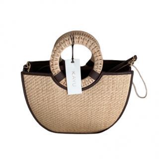 Kayu Binah beige woven handle bag