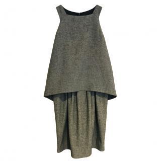 Red Valentino grey sleeveless tulip wool blend dress
