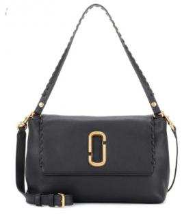 Marc Jacobs black soft leather logo shoulder bag
