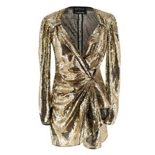 Attico for Luisaviaroma Gold Sequin Tie-Waist Mini Dress