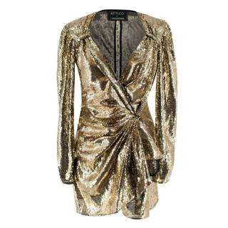 Attico for Luisaviaroma Gold Sequin Tie-Waist Mini Dress