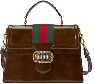 Gucci Linea Crystal Clasp brown leather handle bag
