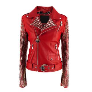 Philipp Plein Couture Embellished Red Leather Jacket