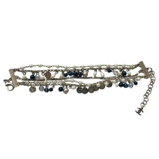 Chanel pearl & gold tone multi disk bracelet