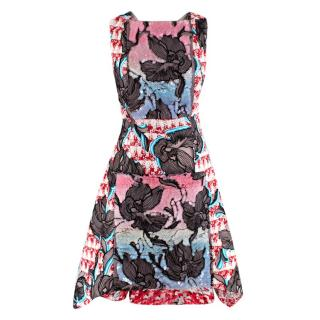 Peter Pilotto Tweed & Chiffon Print Sequin Dress
