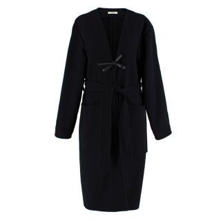 Celine Black & Navy Wool Belted Coat