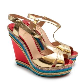 Christian Louboutin Metallic Multi-colour Wedge Sandals