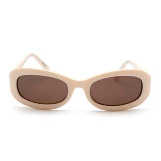 Celine Cream Vintage Oval Sunglasses