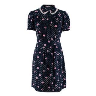 Miu Miu Navy Silk Floral Print Shirt Dress