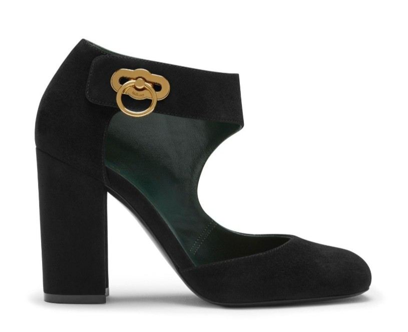 Mulberry Black Suede Amberley Pumps