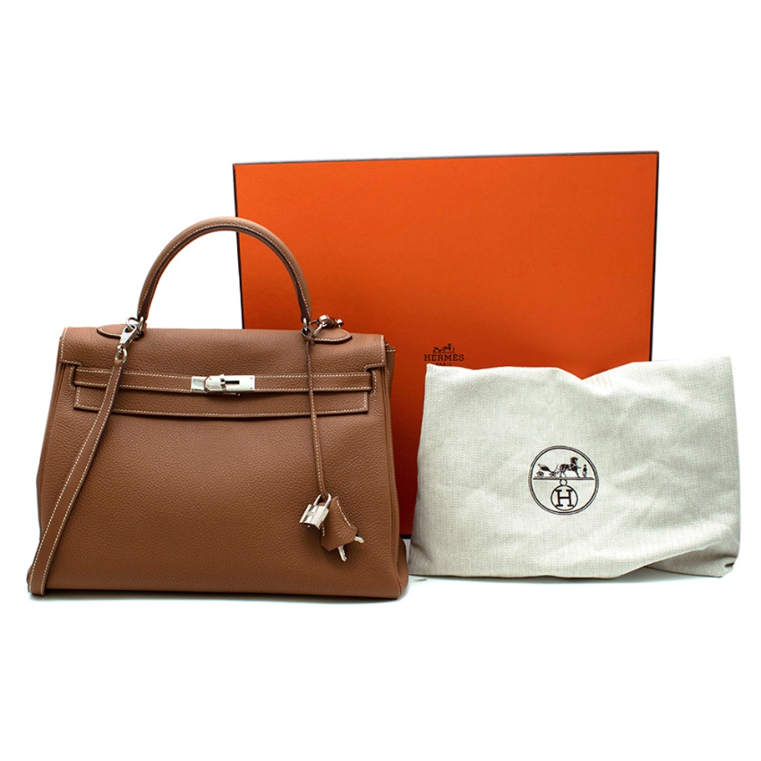 Hermes Kelly 28 Gold clemence Leather PHW R Square 2014