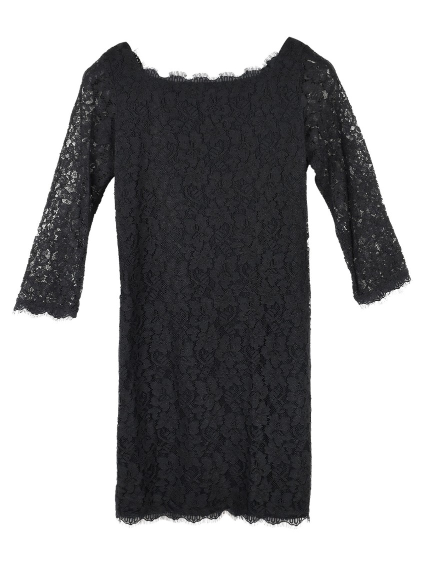 Diane von Furstenberg Zarita black lace scallop dress