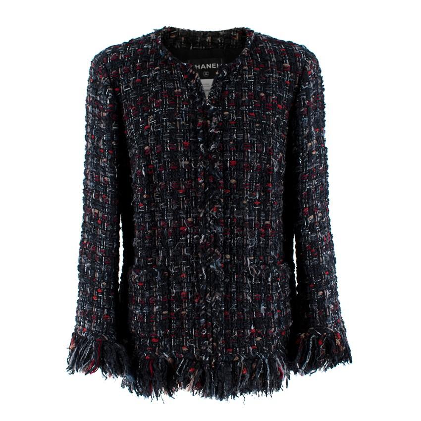 Chanel Boucle Tweed Alpaca & Wool Blend Frayed Jacket