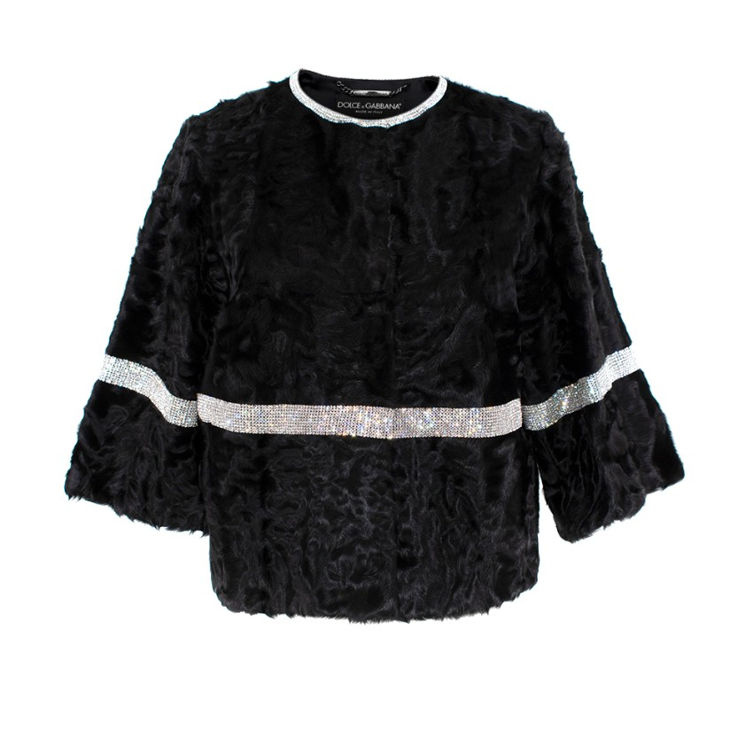 Dolce & Gabbana Black Astrakhan Crystal Trim Short Jacket