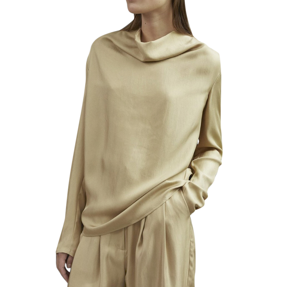 Tove Leone Top Flaxen Silk Twill Beige Blouse