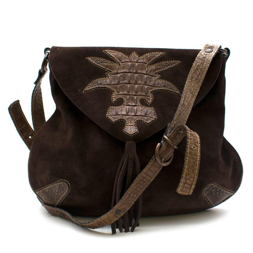 Looky Brown Suede & Croc Embossed Leather Cross-Body Bag