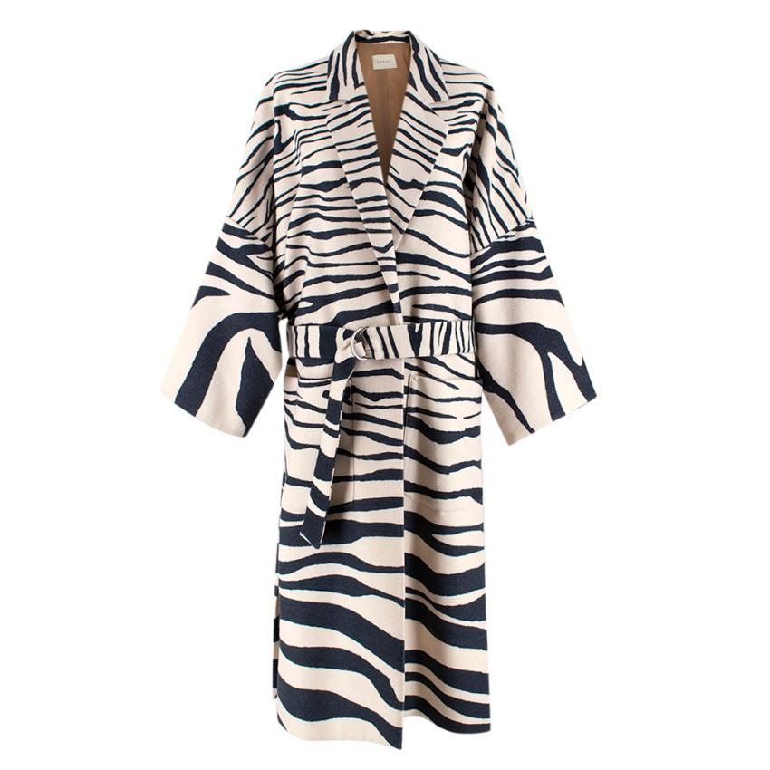 Sykes London Louie Zebra Wool Maxi Coat