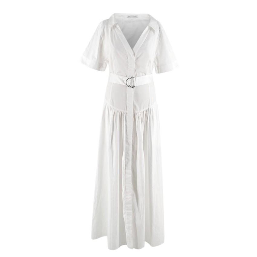 Camilla & Marc White Cotton Short-Sleeve Maxi Shirt Dress