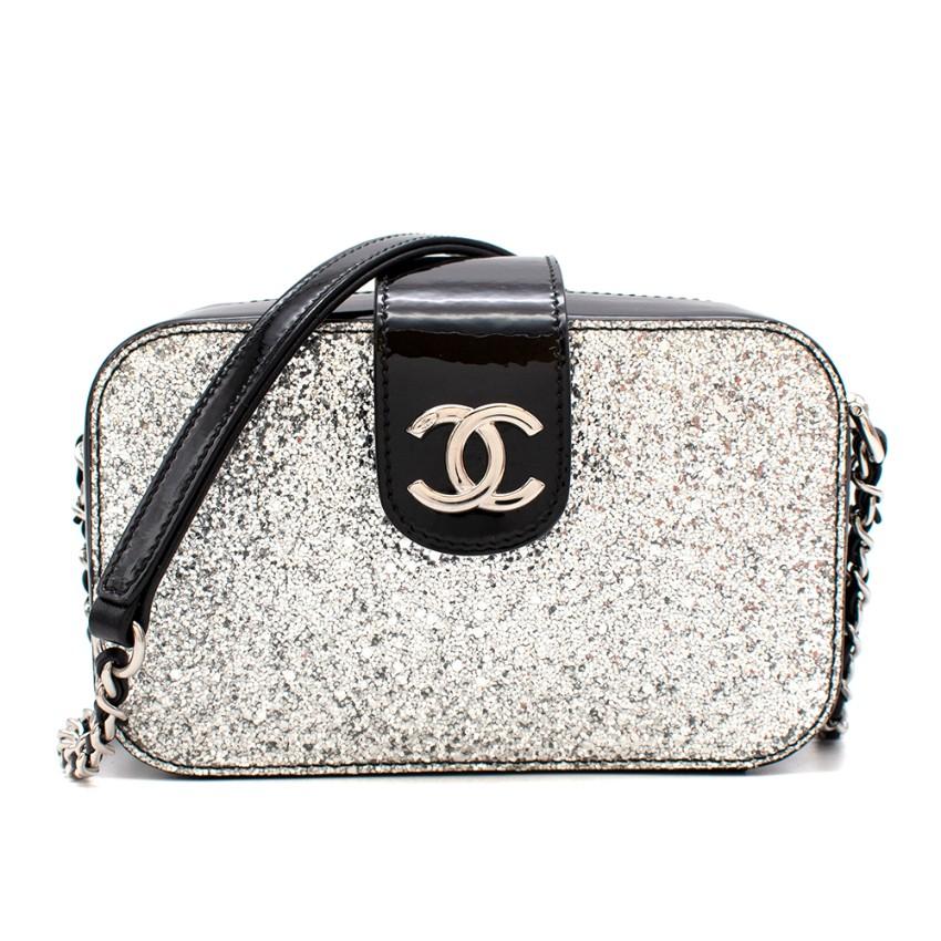 Chanel Patent Silver Glitter Fall '17 Camera Bag
