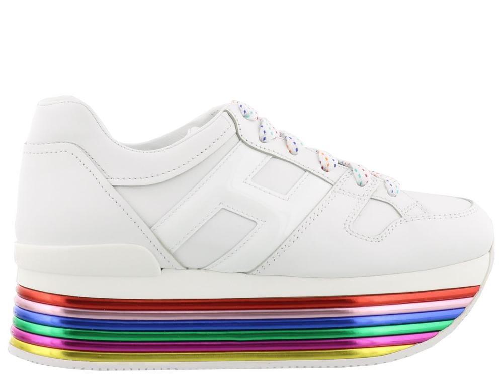 Hogan White Rainbow Platform Sneakers