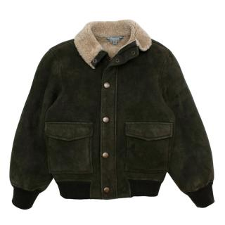 Bonpoint Green suede fleece Jacket