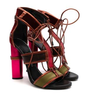 Tom Ford Multi-coloured Metallic Strap Lace-Up Sandals