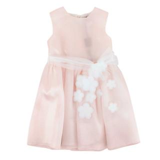 J.O.Milano Flower Embroidered Pink Belted Dress