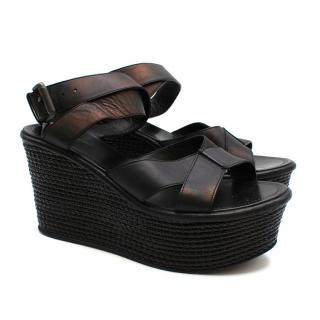 Bottega Veneta Black Iridescent Platform Wedge Sandals