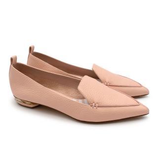 Nicholas Kirkwood BEYA Pink Grained Leather Loafers