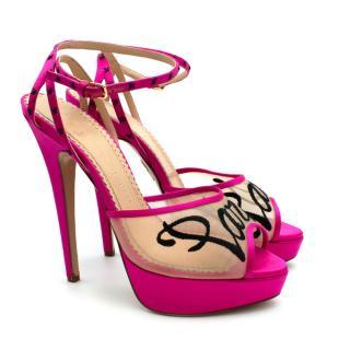 Charlotte Olympia Pink Paris Mesh Sandals