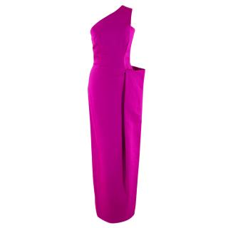 Martin Grant Hot Pink One Shoulder Fitted Dress