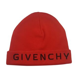 Givenchy Red Cashmere Blend Logo Beanie