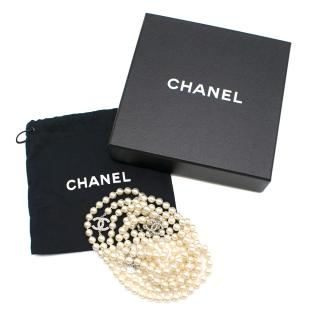 Chanel Ivory Faux Pearl Double Strand Necklace