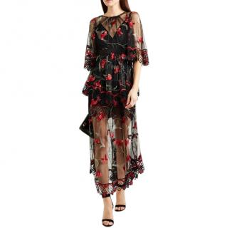 Alice McCall Embroidered Tulle Maxi Tiered Dress