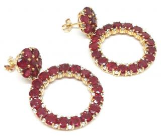 Bespoke ruby and white sapphire hooped earrings