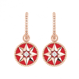 Dior Rose Des Vents 18ct rose gold & red ceramic earrings